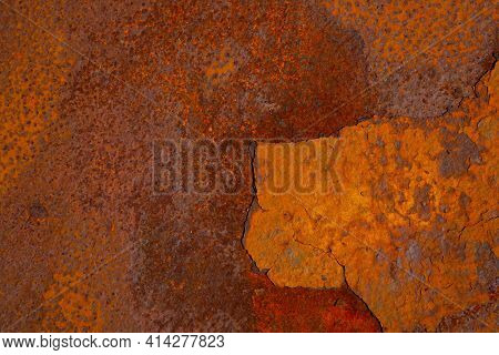 View Of The Rusty Metal Texture For The Workpiece. Background