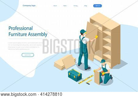 Isometric Workers Of Manufacture With Professional Tools During Furniture Assembly. Furniture Assemb