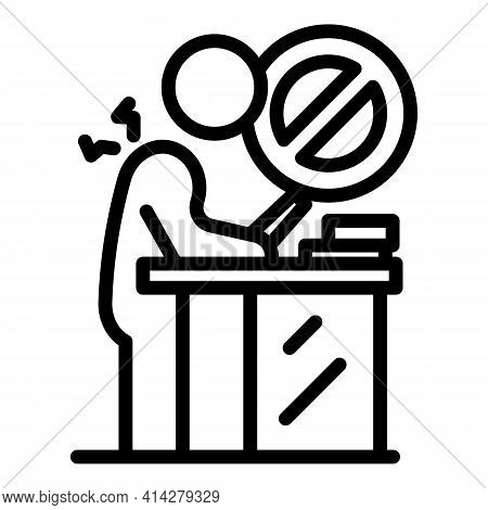 Wrong Working Position Icon. Outline Wrong Working Position Vector Icon For Web Design Isolated On W