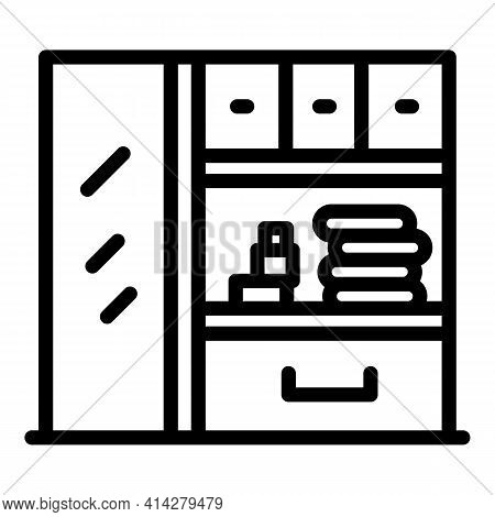 Office Wardrobe Icon. Outline Office Wardrobe Vector Icon For Web Design Isolated On White Backgroun