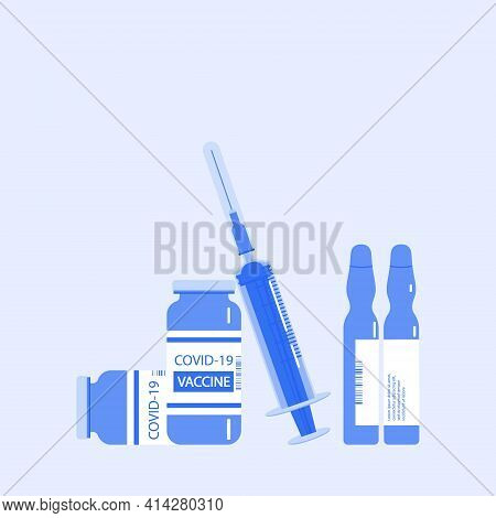 Vaccination. Vector Illustration With Medical Disposable Syringe Icon And Covid-2019 Vaccine Bottle