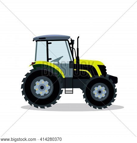 Flat Tractor On A White Background. Light Green Tractor Icon - Vector Illustration. Agricultural Tra