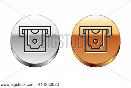 Black Line Atm - Automated Teller Machine And Money Icon Isolated On White Background. Silver-gold C