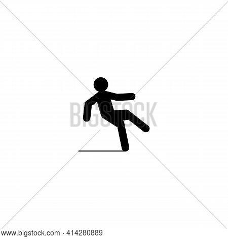Black Icon Sign Man Slipped, Sign Caution Slippery. Vector Illustration Eps 10