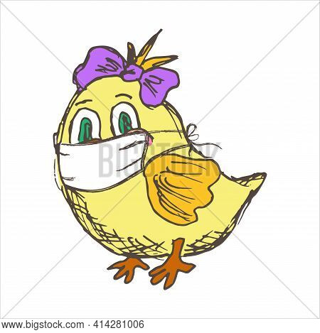 Small Yellow Chicken Wearing A Protective Medical Face Mask Trying To Fly. Vector Kids Character.  C