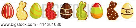 Easter Holiday Seamless Border, With Easter Eggs And Gingerbread Cookies. Vector Illustration