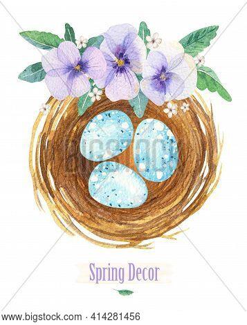 Blue Dot Eggs In Nest With Violet Flower. Watercolor Spring Nest Decor