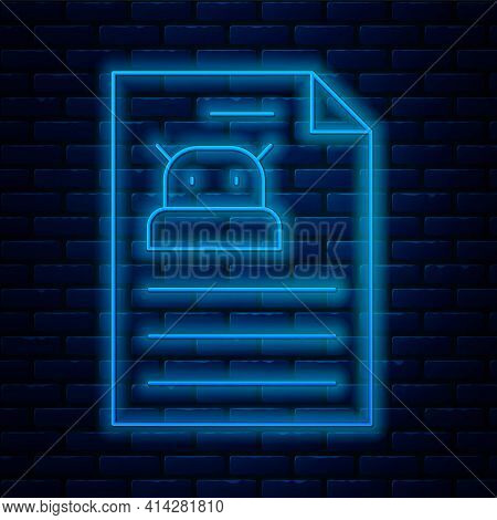 Glowing Neon Line Technical Specification Icon Isolated On Brick Wall Background. Technical Support