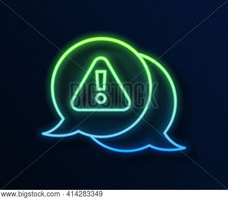 Glowing Neon Line Exclamation Mark In Triangle Icon Isolated On Blue Background. Hazard Warning Sign