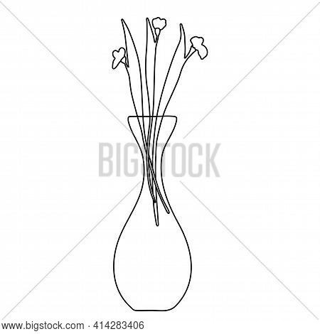 Linear Tall Vase With A Bouquet Of Elegant Flowers With Leaves. Black Lines On A White Background. I