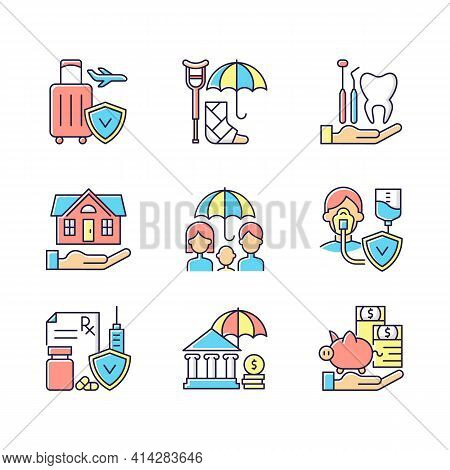 Insurance And Protection Rgb Color Icons Set. Covering Traveling Costs. Disability. Dentist Visit. C