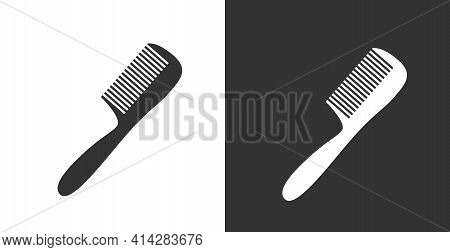 Comb Icon. Black Icon Isolated On White Background. Comb Silhouette. Simple Icon. Web Site Page And