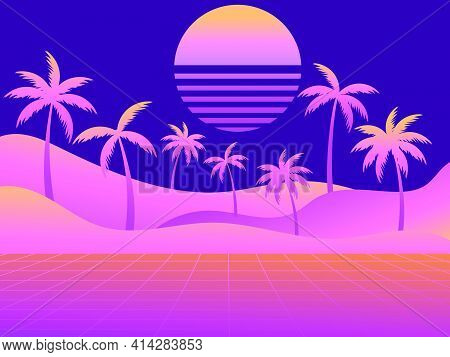 80s Retro Sci-fi Landscape With Palm Trees. Retro Futuristic Sun. Synthwave Retro Background. Retrow