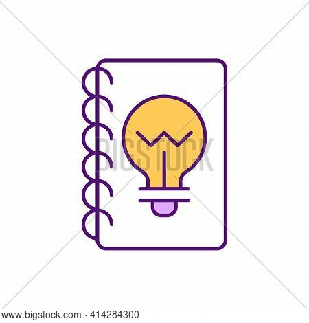 Idea Journal Rgb Color Icon. Brainstorming Notes. Boost Creative Thinking. Project Research. Product