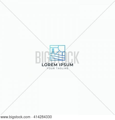 Simple Logo Line Art Landscape Logo Sun Palm
