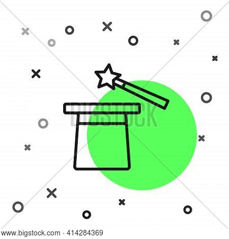 Black Line Magic Hat And Wand Icon Isolated On White Background. Magic Trick. Mystery Entertainment