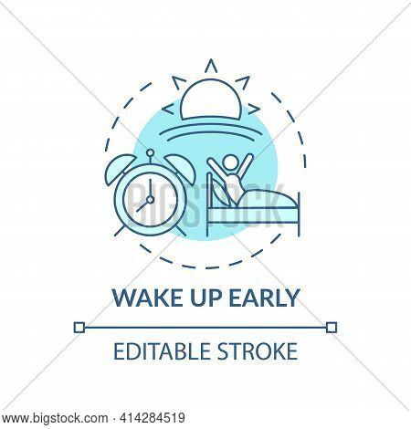 Wake Up Early Turquoise Concept Icon. Daily Routine. Person Awake In Morning. Self Development, Life