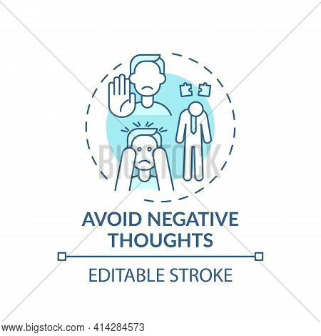 Avoid Negative Thought Turquoise Concept Icon. Positive Attitude. Psychological Approach. Self Devel