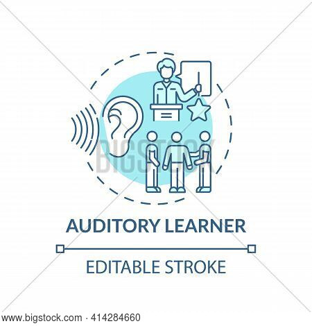 Auditory Learner Turquoise Concept Icon. Learning By Sound. Hearing Information. Self Development An