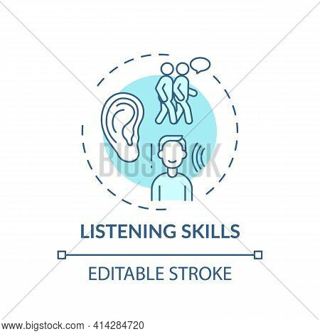 Listening Skills Turquoise Concept Icon. Ability To Communicate. Contact With People. Self Developme