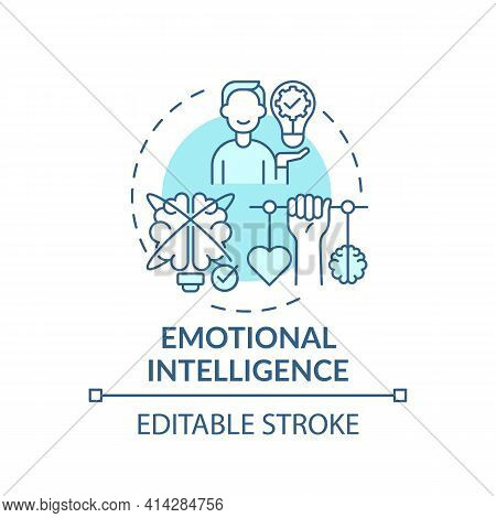 Emotional Intelligence Turquoise Concept Icon. Psychological Skills. Empathy In Relationships. Self
