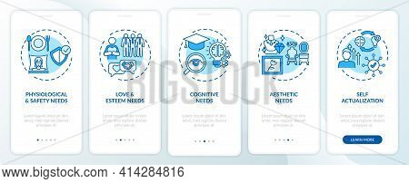 Human Being Needs Blue Onboarding Mobile App Page Screen With Concepts. Self-actualization Walkthrou