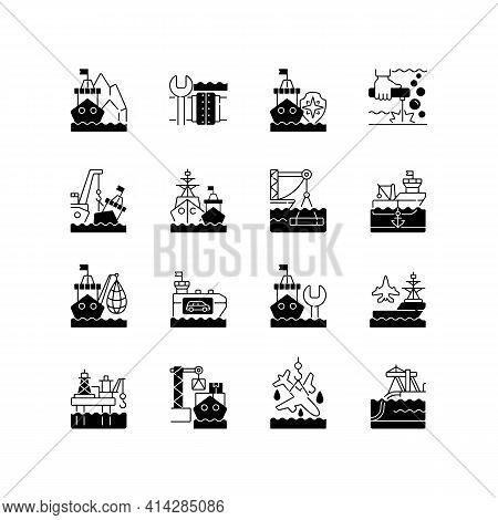 Marine Industry Black Linear Icons Set. Arctic Exploration. Underwater Pipeline Repair. Maritime Sec