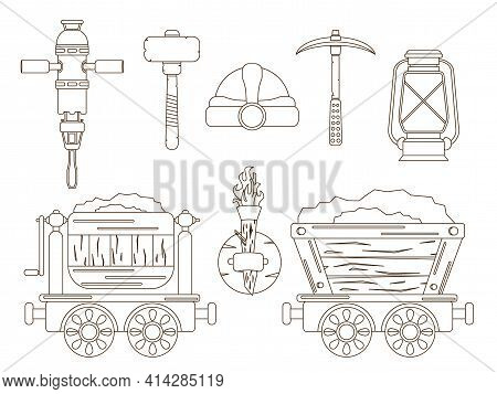 A Set With Mining Tools For The Extraction Of Resources. Mine Carts, Protection And Lighting In The