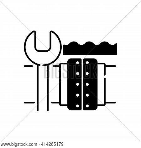 Underwater Pipeline Repair Black Linear Icon. Subsea Pipeline Integrity Repairing And Reinforcing. O