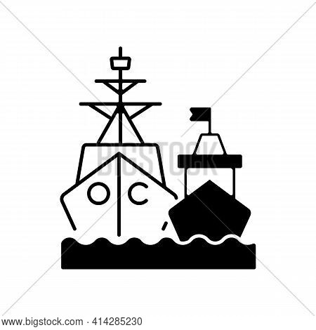 Naval Fleet Black Linear Icon. Military Force Unit. Warships Formation In Ocean. Warfare Ships. Nava