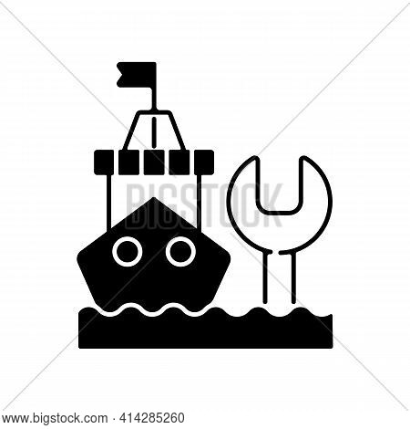 Ship Maintenance And Repair Black Linear Icon. Repairing Floating Vessels. Naval Engineering. Keepin