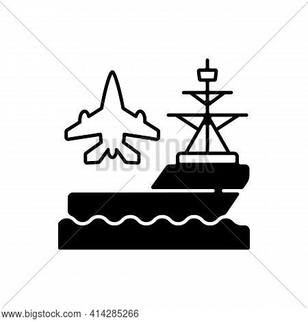 Aircraft Carrier Black Linear Icon. Seagoing Airbase. Place For Aircraft Launching And Landing. Nava