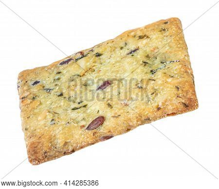 Dry Cracker Isolated On White Background. Flat Cracker Cookie With Herbs Top View