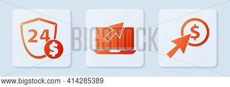 Set Laptop And Cursor, Shield With Dollar And Cursor And Coin. White Square Button. Vector