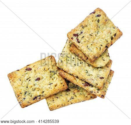 Dry Crackers Isolated On White Background. Flat Cracker Cookies With Herbs Top View.