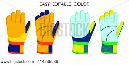 Goalkeeper Gloves For Playing Classic Football. Soccer Goalie Protective Gear. Certoon Vector On Whi