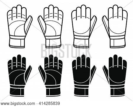 Pair Of Goalkeeper Gloves For Playing Classic Football. Soccer Goalie Protective Gear. Isolated Vect