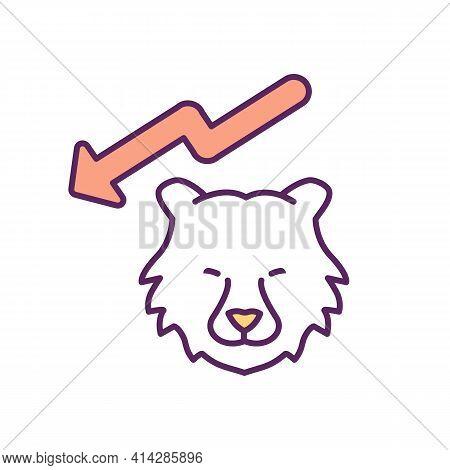 Bear Market Rgb Color Icon. Falling Profit In Market. Prolonged Price Declines. Depreciating In Valu