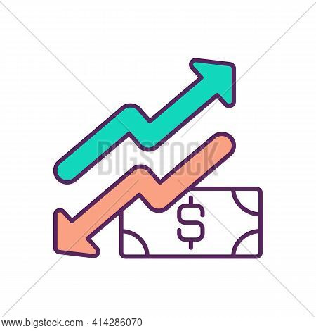Currency Rise And Fall Rgb Color Icon. Currency Fluctuations. Exchange Rate Behavior. Purchasing Pow