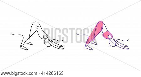 Continuous Line Art Yoga Poses. Yoga Asana Outline