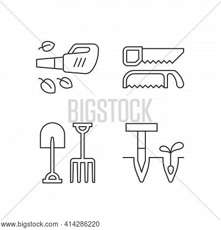 Garden Instruments Linear Icons Set. Leaf Blower. Saws. Fork, Spade. Cleaning Up Leaves. Loosening S