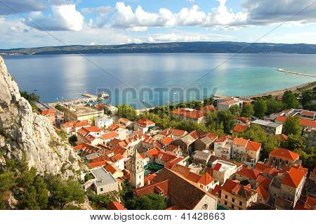 Panorama of dalmatian village Omis in Croatia poster
