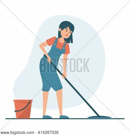 Housewife Washing Floor At Home Vector Isolated