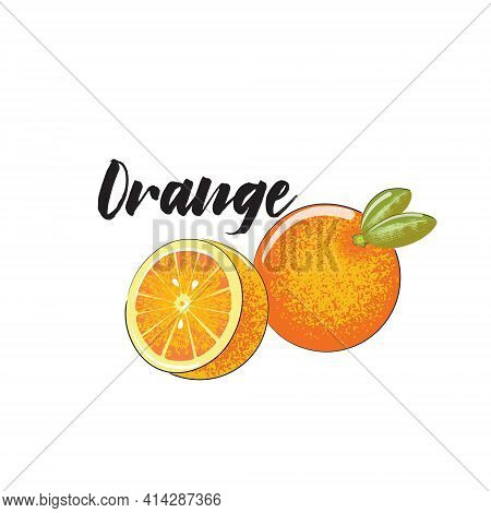A Whole Orange, Half An Orange. The Vector Image Is Isolated On A White Background With The Title Or