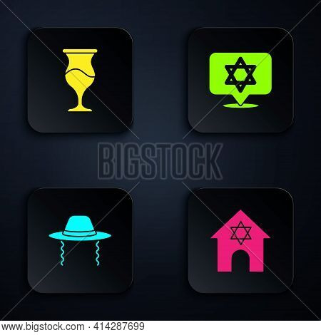 Set Jewish Synagogue, Goblet, Orthodox Jewish Hat And Star Of David. Black Square Button. Vector