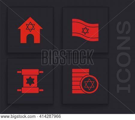 Set Jewish Coin, Synagogue, Flag Of Israel And Torah Scroll Icon. Vector