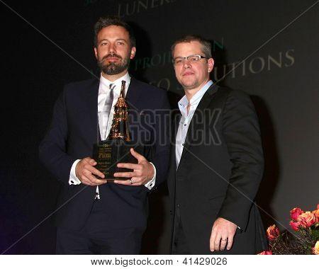 SANTA BARBARA - JAN 25:  Ben Affleck, Matt Damon arrive at the 2013 SBIFF Modern Masters Award presented to Ben Affleck at Arlington Theater on January 25, 2013 in Santa Barbara, CA