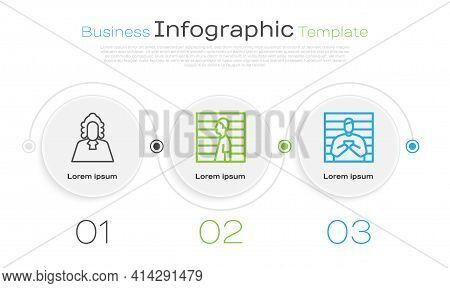 Set Line Judge, Suspect Criminal And Suspect Criminal. Business Infographic Template. Vector