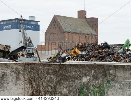 Basel, Switzerland - March 21st 2021: Junkyard And Recycling Plant At The Harbor
