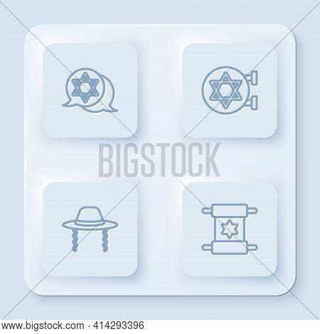 Set Line Star Of David, Jewish Synagogue, Orthodox Jewish Hat And Torah Scroll. White Square Button.